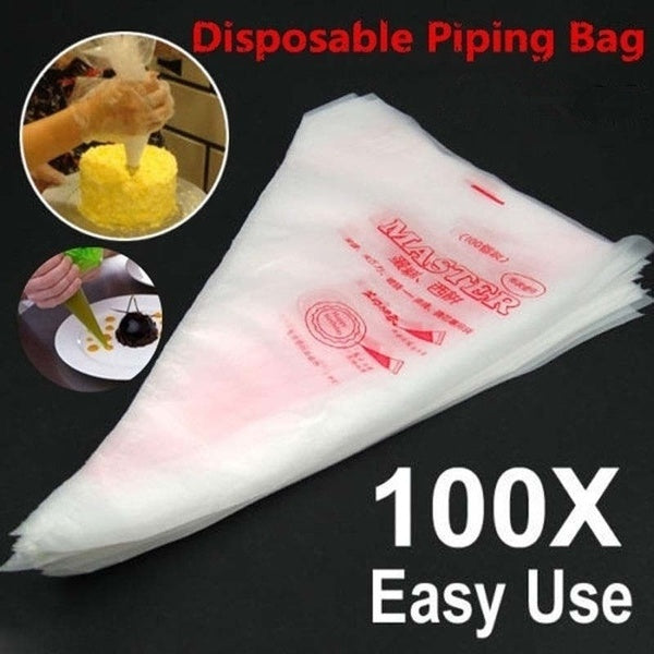 Practical Cake Disposable Piping Icing Bags100pcs Plastic Disposable Piping Bags Cake Cream Decorating