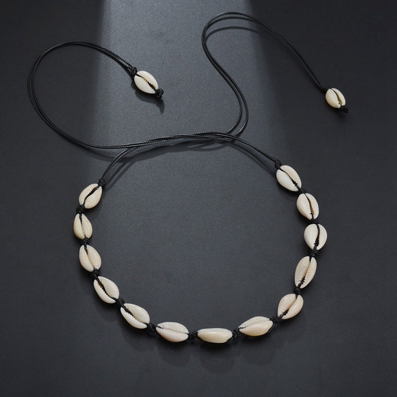 Stylish Bohemian Hawaii Beach Natural Shell Necklace Sea Shell Pendant Chain Choker Necklace Women Clavicle Chain Jewelry