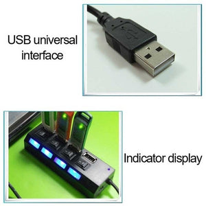 New 7/4 Ports LED USB 2.0 Adapter Hub Power on/off Switch for PC Laptop BK