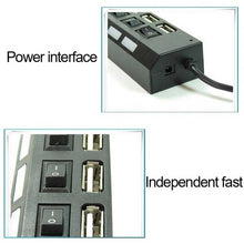 Load image into Gallery viewer, New 7/4 Ports LED USB 2.0 Adapter Hub Power on/off Switch for PC Laptop BK