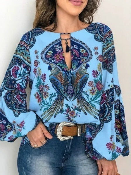 S-5XL  Women's Fashion Trending Clothes Vintage  Ethnic Printing Shirts Long Sleeve Lantern Sleeve Shirts Plus Size Tops