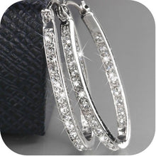 Load image into Gallery viewer, Dazzling Elegant Women Fashion 925 Sterling Silver Natural Sapphire Diamond Hoop Earrings Gifts
