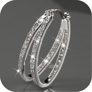 Dazzling Elegant Women Fashion 925 Sterling Silver Natural Sapphire Diamond Hoop Earrings Gifts