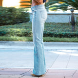 New Women Fashion Plus Size Vintage Bell Bottom Denim Pants Middle Waist Fitted Denim Jeans Flare Slim Pants