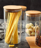 Glass Storage Jars Airtight Silicone Sealing Ring Kitchen Food Container Canister with Bamboo Lid