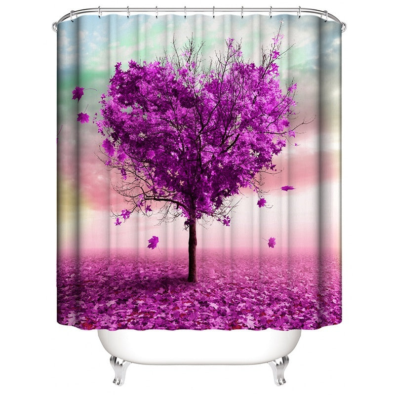 Bathroom Shower Curtain Tree Printing Durable Waterproof  Bath Curtain Sets Toilet Cover Mat Non-Slip Bathroom Rug Set