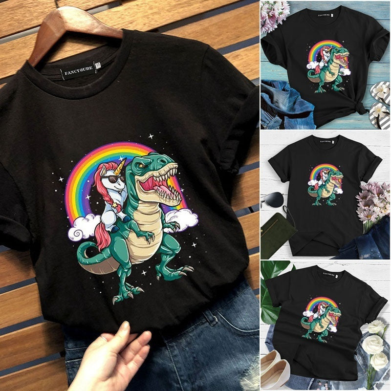 New Fashion Women Girls Funny Cute Cartoon Unicorn Dinosaur Printed T Shirt Casual Short Sleeve Rainbow Unicorn Graphic Tee