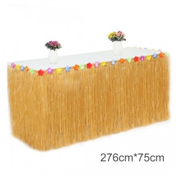 1PC Tropical Hawaiian Luau Table Grass Skirt Flowers BBQ Cover Party Decor