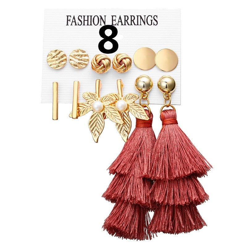 European and American Cross-border New Earrings Fashion Wild Moon Triangle Tassel Earrings Set 6 Pairs of Jewelry