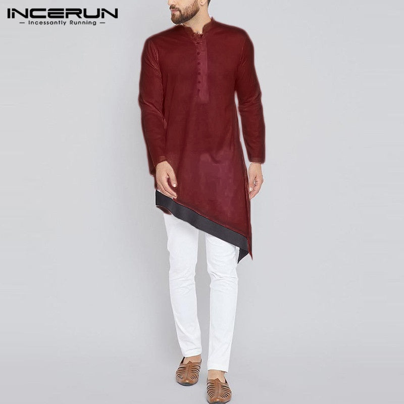 Fashion Muslim Clothing For Men Long Shirts Solid Color Indian Kurta Suit Teenager Kaftan Irregular Hem Dress Shirts