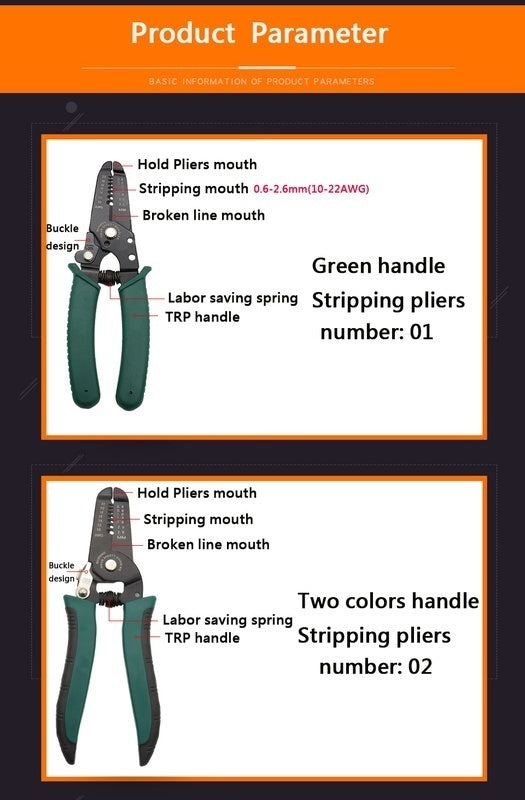 1 PC Multifunctional Cable Crimper Cutter Wire Stripper Decrustation Pliers Repair Tool Pliers Cable Wire Stripping Pliers High Hardness Tool
