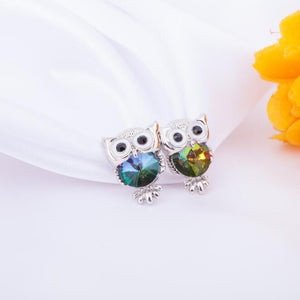 Fashion Cute Crystal Owl Girls Stud Earrings for Women Vintage Gold-Color Animal Statement Earrings