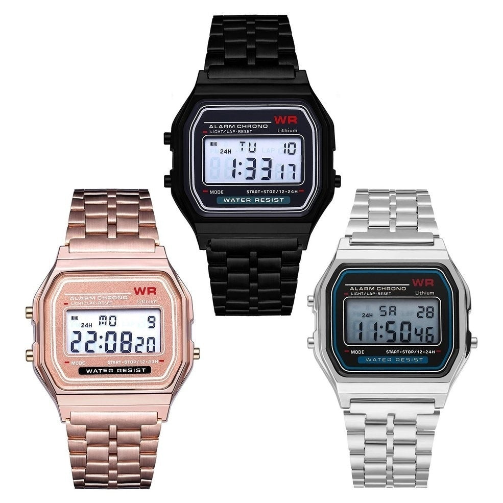 LED Digital Wrist Watch Ultra Thin Alarm Wrist Watch Calendar for Men Women Men Stainless Steel Band Sport Square Quartz Watches