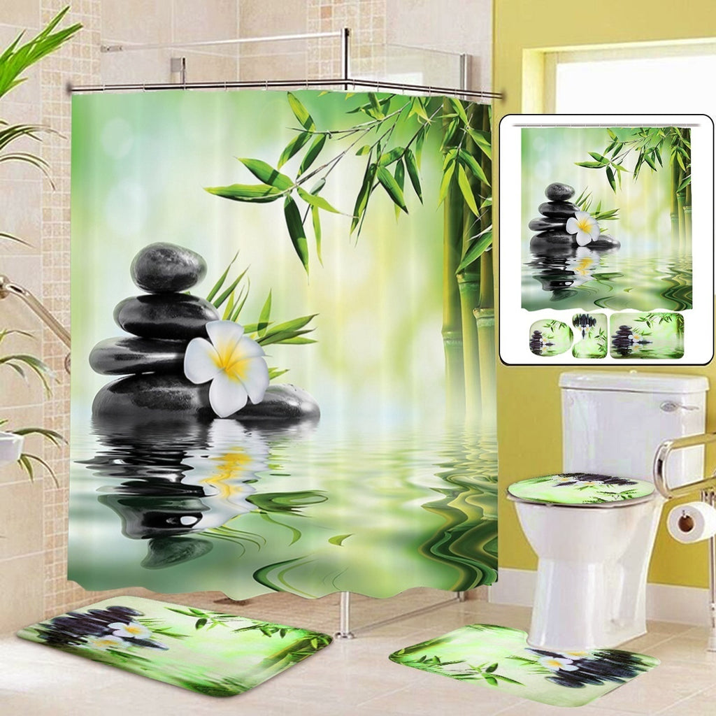 4PCS/3PCS/1PCS 180 x 180 cm Waterproof Bamboo Bathroom Shower Curtain Non-Slip Toilet Cover Mat