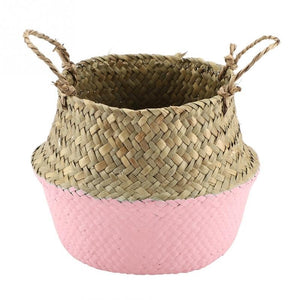 Foldable Natural Seagrass Woven Clothes Storage Organizer Flower Plant Pot Basket