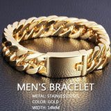 18K Gold Plated Stainless Steel Curb Chain Bracelet Mens Jewelry Heavy Style