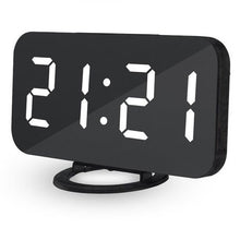 Load image into Gallery viewer, Simple LED display dimming alarm clock digital clock large easy to read mode simple snooze function mirror dual USB charger port