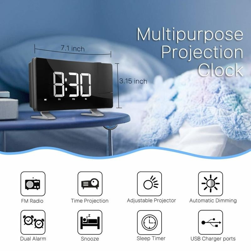 Newest Multifuctional Projection Digital Clock FM Radio Alarm Clock With USB Charging Port