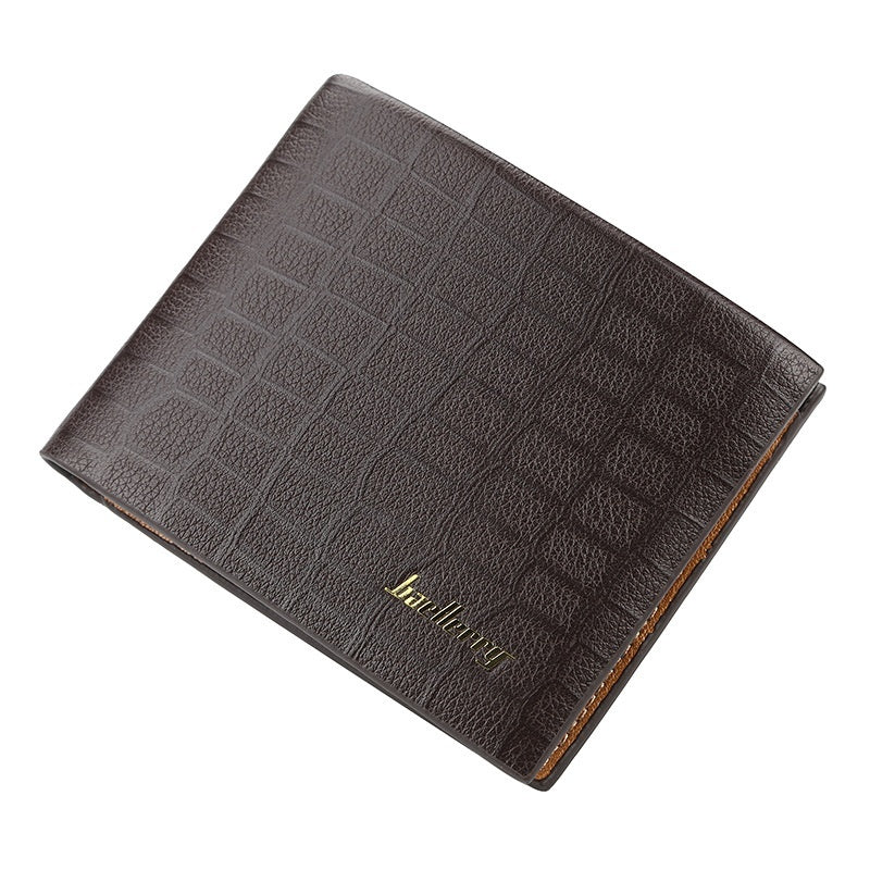 Baellerry New Men's Short Crocodile Pattern Retro Wallet Simple Fashion Cross Section Creative Card Package Fashion Leather Purse