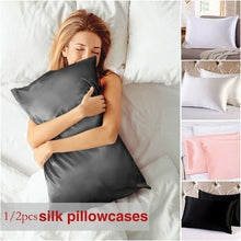 Load image into Gallery viewer, 2pcs Satin Solid Color Simulation Silk Single Pillowcase Ice Silk Pillowcase Zipper Closure 6 Colors Pillow Shams(No filler, only pillowcase)