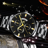 Shaarms SA6060 Waterproof Casual Watch Men Luxury Faux Chronograph Quartz Military Men Calendar Stainless Steel Wristwatches Sports Watches Reloj Hombre