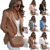 Fashion Tops for Women Plus Size (s-5xl) Blazer for Office Elegant Slim Fit Jackets Solid Color Clothing