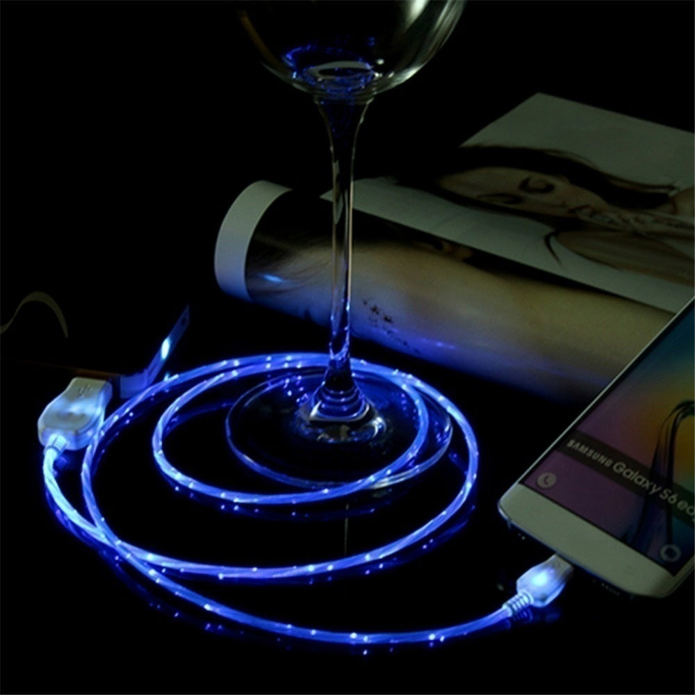 5 Colors Streamer Data Flowing LED Light Fast Charge Cable Suitable For iPhone Android Type-C Adapter