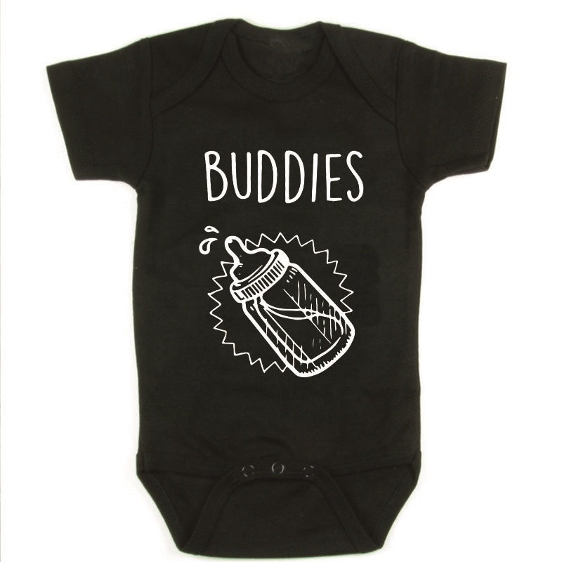 Twins Baby Shower Gift DRINKING BUDDIES Children Girls Boys Show Gift Organic Cotton Casual Chit Jumpsuit