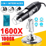 8 LED Endoscope USB Zoom Magnifier Camera Stand 500X 1000X 1600X Digital Microscope
