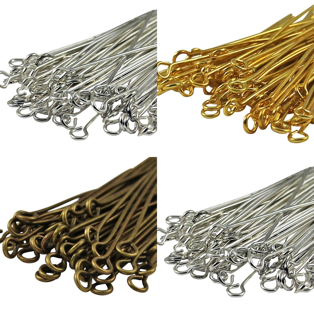 100pcs Color Bronze,Gold ,Silver Plated Metal Flat Headpins Eyepins Ballpins Finding Jewelry Maker
