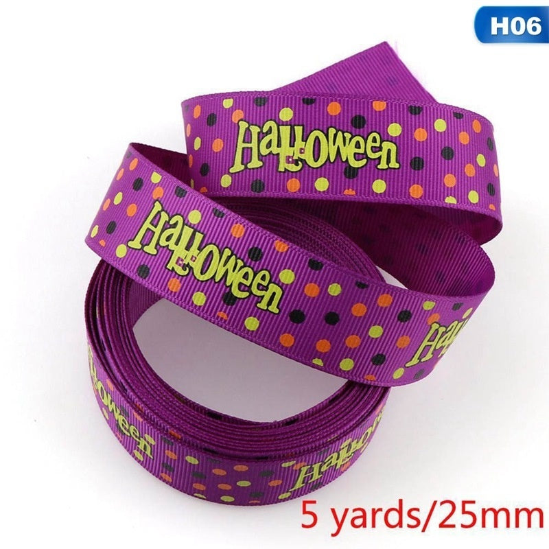 11 Styles 25/9Mm Halloween Ribbon 5Yards Printed Halloween Grosgrain Ribbon Craft Hair Bow/Halloween/Diy Sew/Clothes Lace/Gift Bow