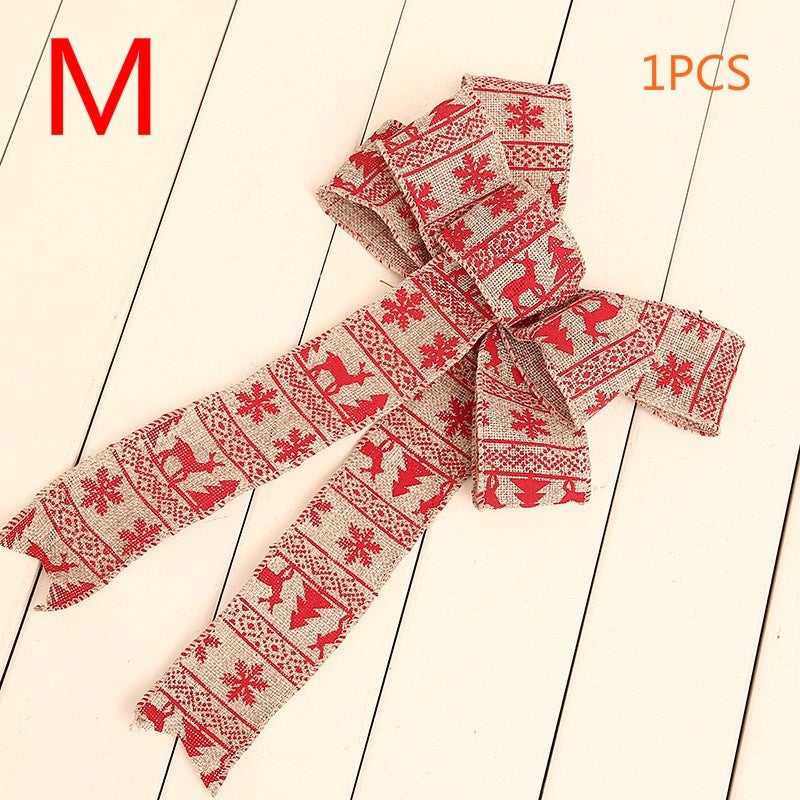 1pcs 2019 new Christmas Burlap Print Christmas Tree Pendant Decoration Christmas Decorations