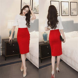 Plus Size Women Skirt Midi Skirt Slim OL Sexy Open Slit Button Slim Pencil Skirt Elegant Ladies Skirts(Size:S-5XL)