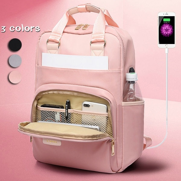 Fashion Anti-theft Bag Travel Waterproof Backpack Women Large Capacity Business USB Charge  Laptop Backpack Leisure bag Laptop bag 13 13.3 14 15 15.6inch