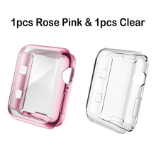 Load image into Gallery viewer, (2pcs) COPERBRI Soft Case Compatible with Apple Watch Screen Protector 40mm 44mm 38mm 42mm, Built-in TPU All-Around High Clear Case Protective Ultra-Thin Case Cover for iWatch Series 4/3/2/1