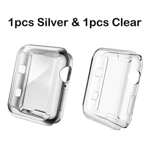 (2pcs) COPERBRI Soft Case Compatible with Apple Watch Screen Protector 40mm 44mm 38mm 42mm, Built-in TPU All-Around High Clear Case Protective Ultra-Thin Case Cover for iWatch Series 4/3/2/1