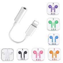 Load image into Gallery viewer, 1PC  3.5mm Mic Volume Adjustable Wired Control Headset Earphone +1PC Lightning Jack Earphone Adapter for IPhone 8 7 6 6s 5 5S  4 4S X  XR Xs Max   / for Samsung