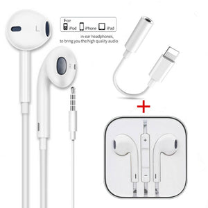 1PC  3.5mm Mic Volume Adjustable Wired Control Headset Earphone +1PC Lightning Jack Earphone Adapter for IPhone 8 7 6 6s 5 5S  4 4S X  XR Xs Max   / for Samsung