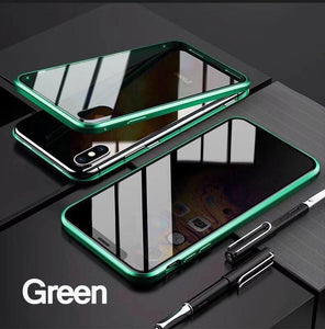 2020 New Anti-peeping Double Side Glass Case for iPhone XS MAX Privacy Protection Front Glass + Clear Back Glass Magnetic Adsorption Metal Bumper Full Body Protection Cover for iPhone XS XR X 8 8 Plus 7 7 Plus