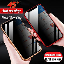 Load image into Gallery viewer, 2020 New Anti-peeping Double Side Glass Case for iPhone XS MAX Privacy Protection Front Glass + Clear Back Glass Magnetic Adsorption Metal Bumper Full Body Protection Cover for iPhone XS XR X 8 8 Plus 7 7 Plus
