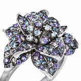 Exquisite Fashion Colorful Diamond Ring 925 Sterling Silver Flower Ring Fashion Flower Jewelry Proposal Anniversary Gift Engagement Wedding Ring for Women (size: 5-11)