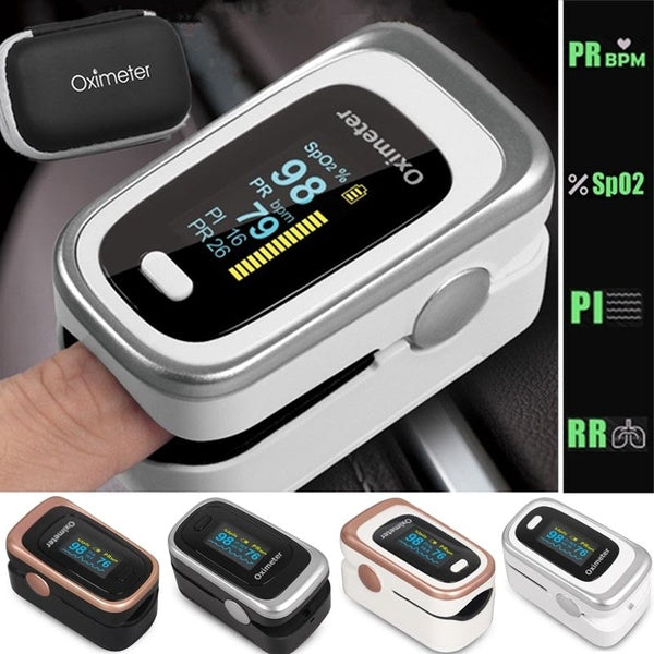 New Premium Fingertip Pulse Oximeter Blood Oxygen Monitor with 4 Parameter SPO2 PR Respiratory Rate  Perfusion Index W One Pouch