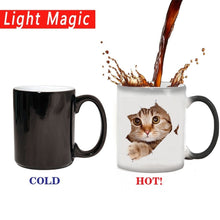 Load image into Gallery viewer, Cute Cat Mug Changing color  Ceramic Coffee Mugs Magic Tea Cup best gift for your friends