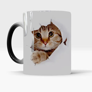 Cute Cat Mug Changing color  Ceramic Coffee Mugs Magic Tea Cup best gift for your friends