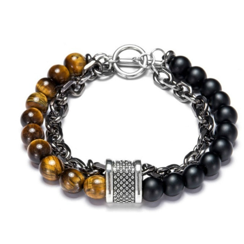Unique Natural Map Stone Men's Beaded Bracelet Stainless Steel Bracelets Dropshipping Male Jewelry Fashion Gifts for Men