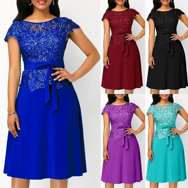 Faashion Lace Patchwork Tie Waist  Round Neck Cap Sleeve  Lace Patchwork Dress Ladies Solid Color Casual Belted Midi Dresses Plus Size S-5XL