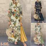 Women 3/4 Sleeve Round Neck Floral Printed Long Dress Stitching Loose Plus Size Casual Dresses