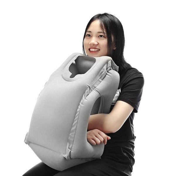 Frontal Travel Pillow Inflatable Air Bolster Comfortable Airplane Office Desk Nap Pillow