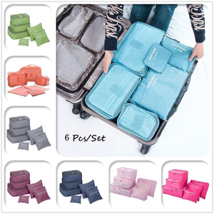 6 Pcs/7 Pcs Square Travel Luggage Storage Bags Clothes Organizer Pouch Case