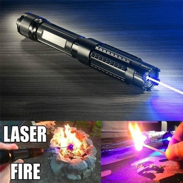 450nm blue/Green laser pointer adjustable beam burning match + 5 star cap + charger + 2 * 16340 rechargeable battery
